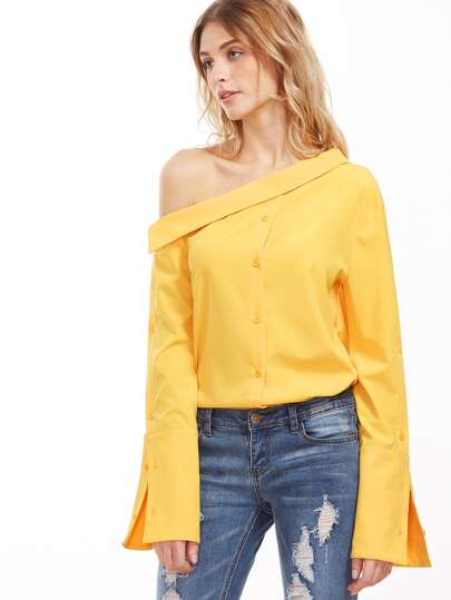 Yellow Asymmetric Shoulder Buttoned Split Sleeve Blouse