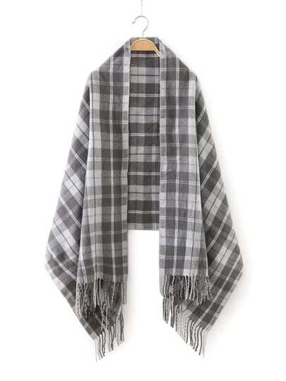 Grey Plaid Fringe Edge Scarf