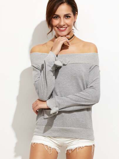 Heather Grey Off The Shoulder Tie Sleeve Sweatshirt