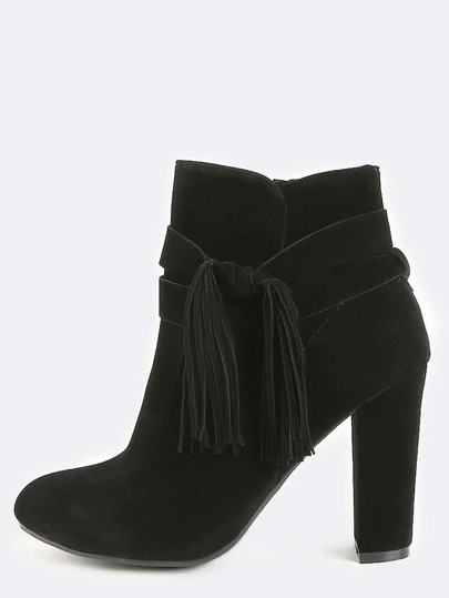 Wrapped Tassel Suede Booties BLACK