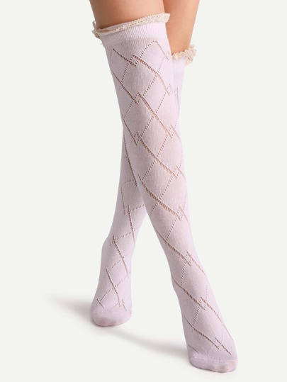 Pink Lace Button Hollow Out Knee High Socks