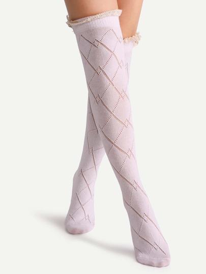 الوردي الرباط زر الجوف خارج الركبة جوارب عالية