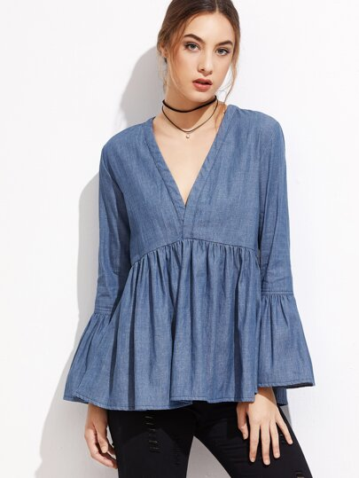 Blue V Neck Bell Sleeve Denim Blouse