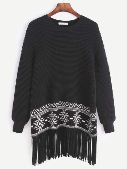 Black Ribbed Knit Tribal Pattern Fringe Sweater