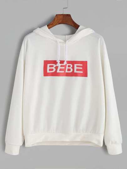 Beige Letter Print Hooded Sweatshirt