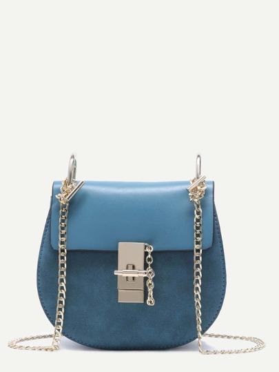 Blue PU Flap Saddle Bag With Chain
