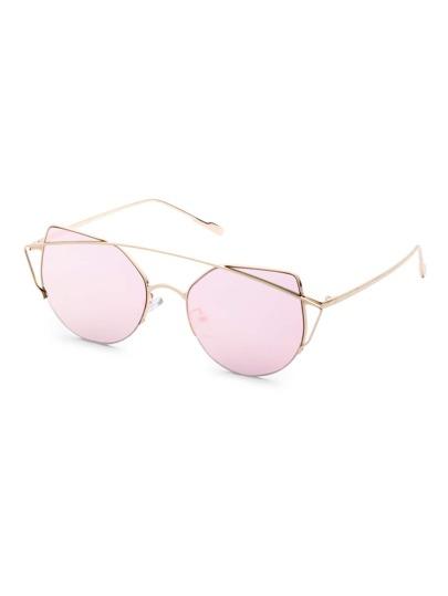 Gafas de sol con marco de metal doble puente ojo de gato - rosa