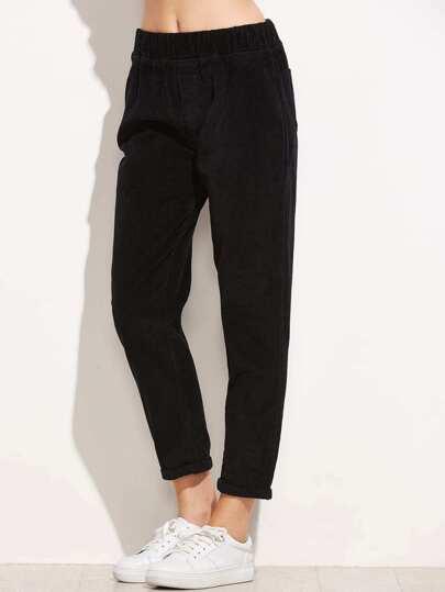 Black Elastic Waist Cuffed Corduroy Pants