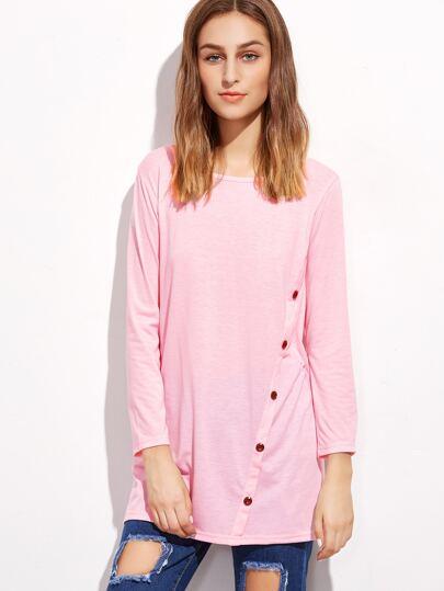 Pink Buttons Trim Long T-shirt