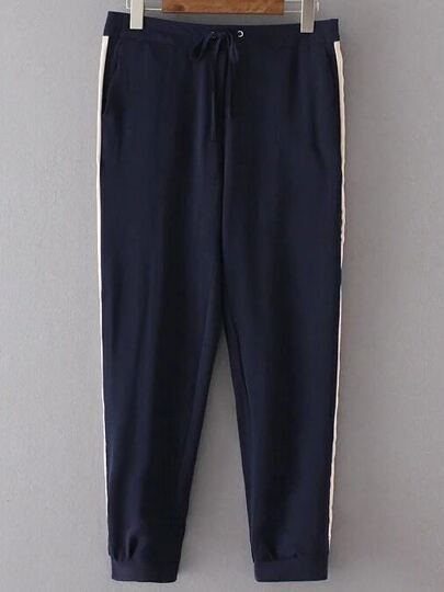 Navy Color Block Drawstring Waist Pants