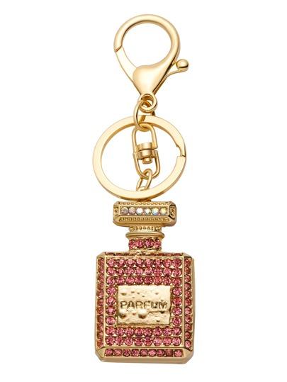 Gold Plated Rhinestone Perfume Bottle Keychain