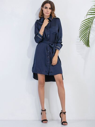Navy Slit Side High Low Shirt Dress With Belt