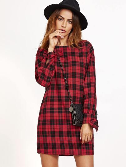 Red Plaid Tie Sleeve Tunic Dress