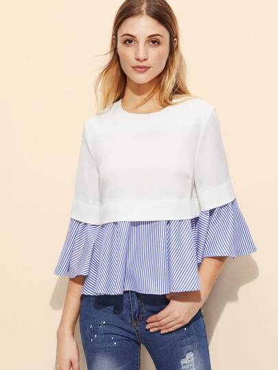 Flute Sleeve Striped Frill Top
