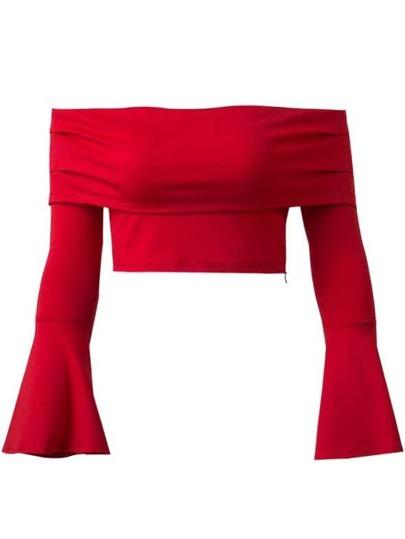 Red Off The Shoulder Bell Sleeve Zipper Crop Top