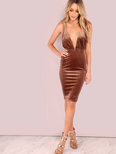 Low Back Twisted Strap Velvet Plunge Bodycon Dress MOCHA
