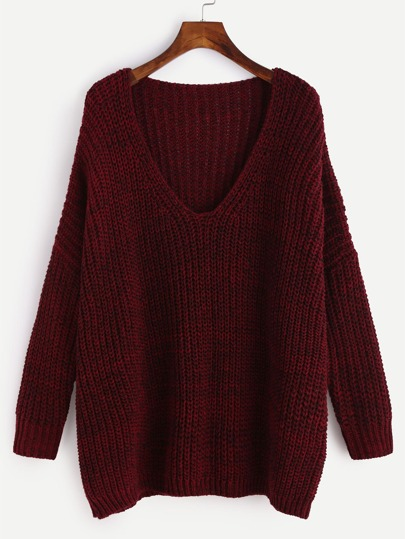 Burgundy Marled Knit Drop Shoulder Sweater