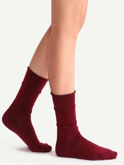 Burgundy Crew Socks