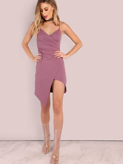Wrap Front Crepe Mini Dress DARK MAUVE