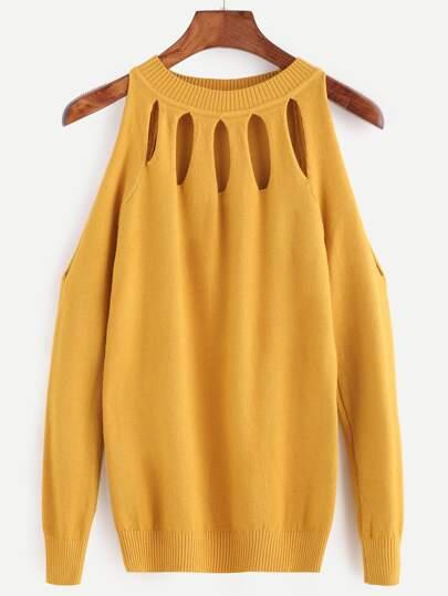 Жёлтый модный джемпер с открытыми плечами с разрезом