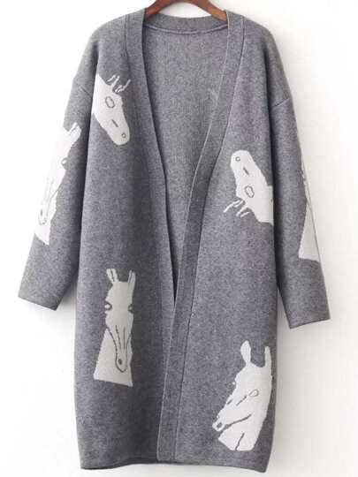 Grey Horse Pattern Open Front Cardigan