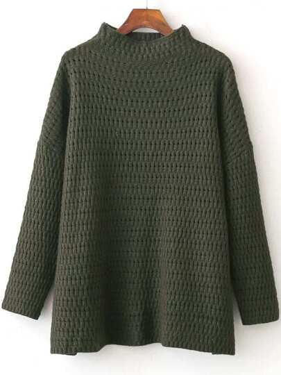 Army Green Hollow Out Side Slit Sweater