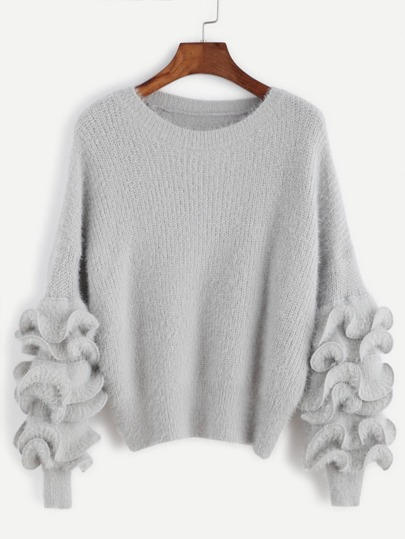 Grey Drop Shoulder Ruffle Trim Fuzzy Sweater