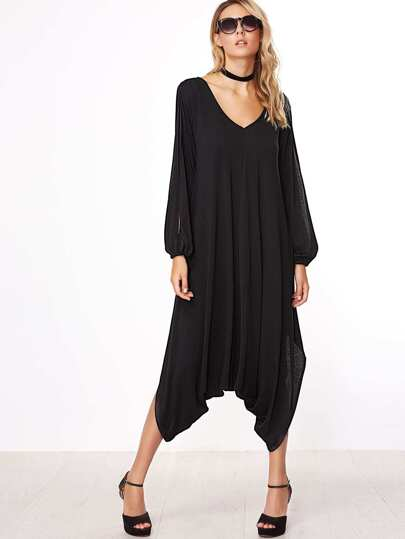 Black V Neck Split Sleeve Crop Drop Crotch Jumpsuit