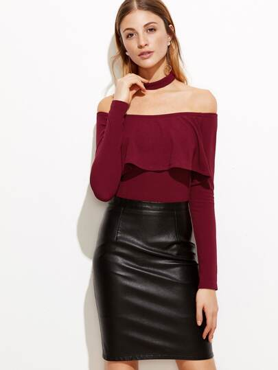 Bardot Frill Bodysuit With Choker