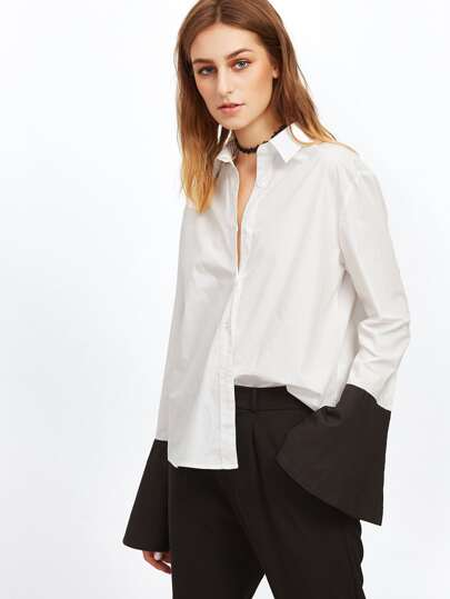 White Contrast Split Bell Cuff Blouse