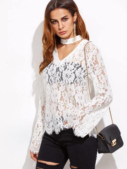 White Cutout Choker Floral Lace Top