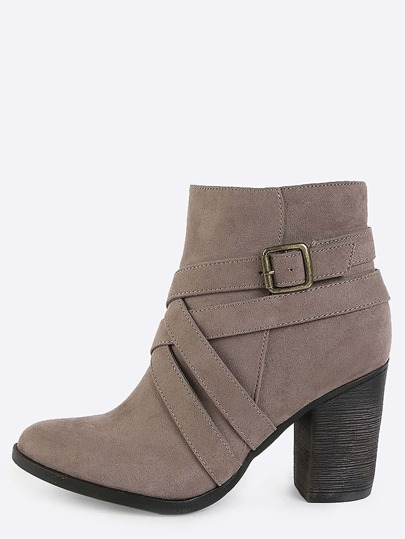 Criss Cross Strappy Suede Booties TAUPE