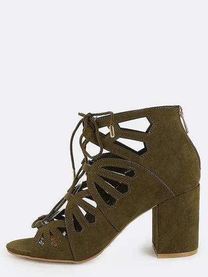 Open Toe Cut Out Chunky Heels OLIVE
