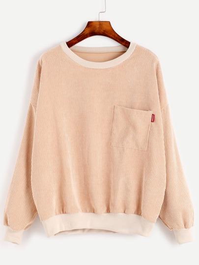 Khaki Drop Shoulder Seam Pocket Corduroy Sweatshirt