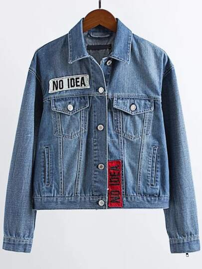 Blue Patch Embroidery Zipper Detail Denim Jacket