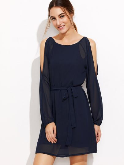 Navy Open Shoulder Self Tie Chiffon Dress