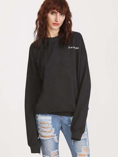Black Letter Print Zip Slit Sleeve Sweatshirt
