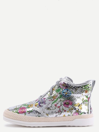 Silver Floral PU Snakeskin Espadrille Sneakers