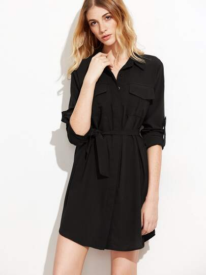 Black Roll Tab Sleeve Self Tie Shirt Dress