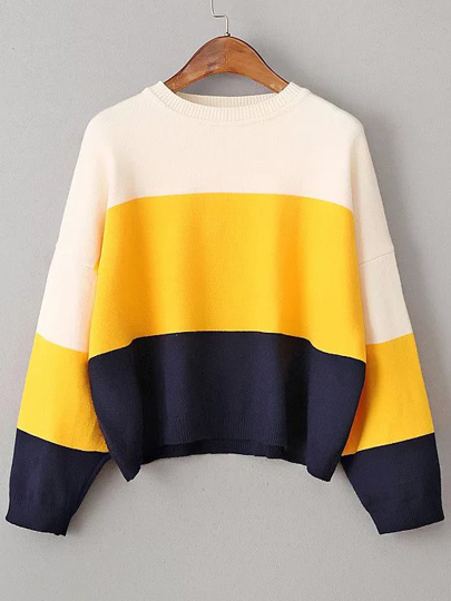 Color Block Drop Shoulder Loose Sweater