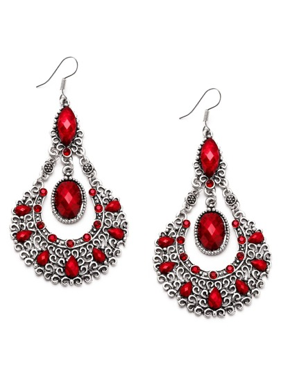 Red Gemstone Hollow Out Statement Drop Earrings