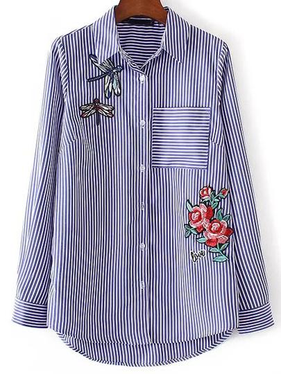 Bluse Vertikal gestreifte Blumen Stickereien vorne kurz hinten lang -blau