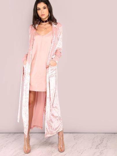 Pink Shawl Collar Longline Wrap Coat