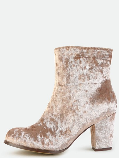 Velvet Block Heel Ankle Boots TAUPE