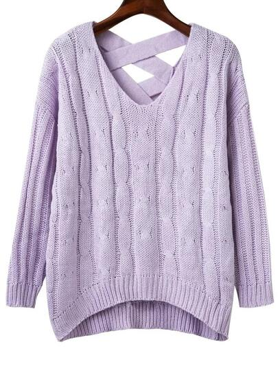 Purple Criss Cross Back V Neck Sweater