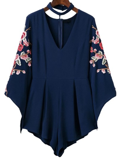 Royal Blue Flower Embroidery Choker Neck Romper