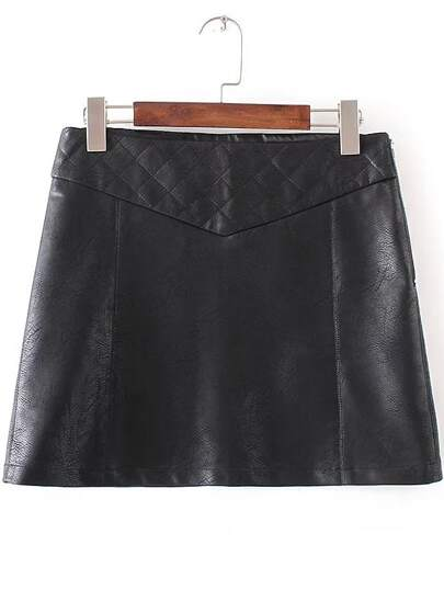 Black Side Zipper PU Skirt