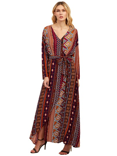 Multicolor Print V Neck Neck Tie Maxi Dress