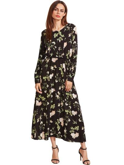Черный Цветочные Длинные рукава платья макси