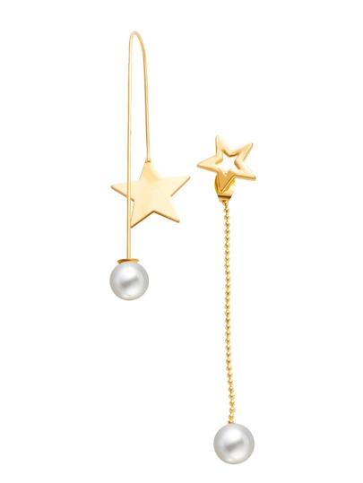 Gold Plated Star Faux Pearl Asymmetrical Earrings